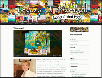 Screen shot of Greensboro artist, Tracey J. Marshall's newly redesigned website hosted on Squarespace.
