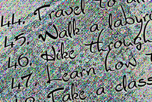 Graphic depicting a snippet of a numbered list with 'travel, hike, learn...'