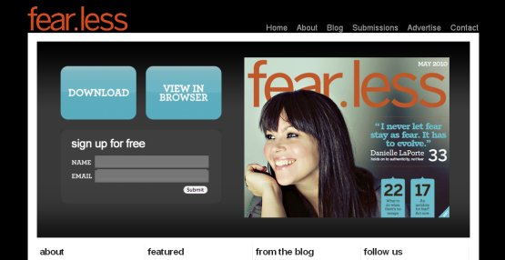 Screen shot of fear.less magazine - click to visit them online