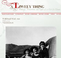 Snippet of a screen shot from the blog: A Lovely Thing, including an old black and white photo of 3 young ladies