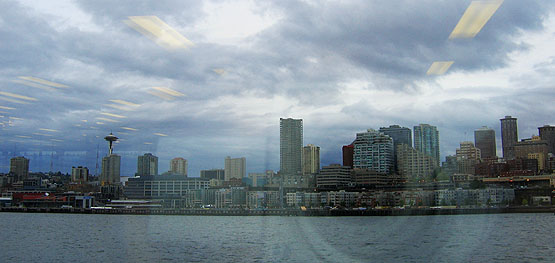 Picture of Seattle through a ferry window, taken March 2006