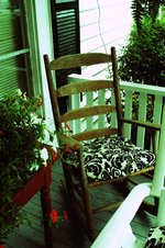 photo of rocking chair on southern farmhouse porch