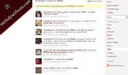 screen capture of twitter page showing #tetris searches during 20 minute period