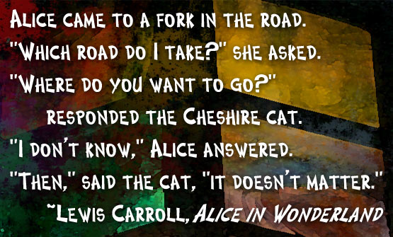 A digital graphic featuring this quote: Alice came to a fork in the road. 'Which road do I take?' she asked. 'Where do you want to go?' responded the Cheshire cat. 'I don't know,' Alice answered. 'Then,' said the cat, 'it doesn't matter.' ~Lewis Carroll, Alice in Wonderland