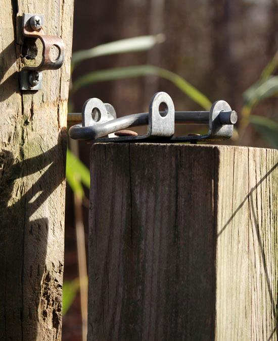 Photo of a lock on a back yard fence - Unlocked