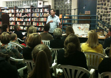 Chris Guillebeau talking to a group about his book 'The Art of Non-Conformity,' and related ideas, on Saturday night, at The Regulator Bookshop in Durham, NC.