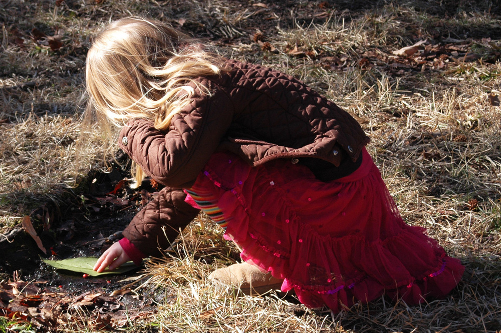 little-blonde-girl-in-pink-tulle-skirt-and-boots-playing-with-leaf-in-stream.jpg
