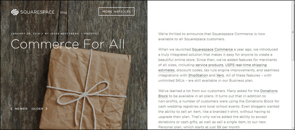 Squarespace Commerce is available for all customers now.