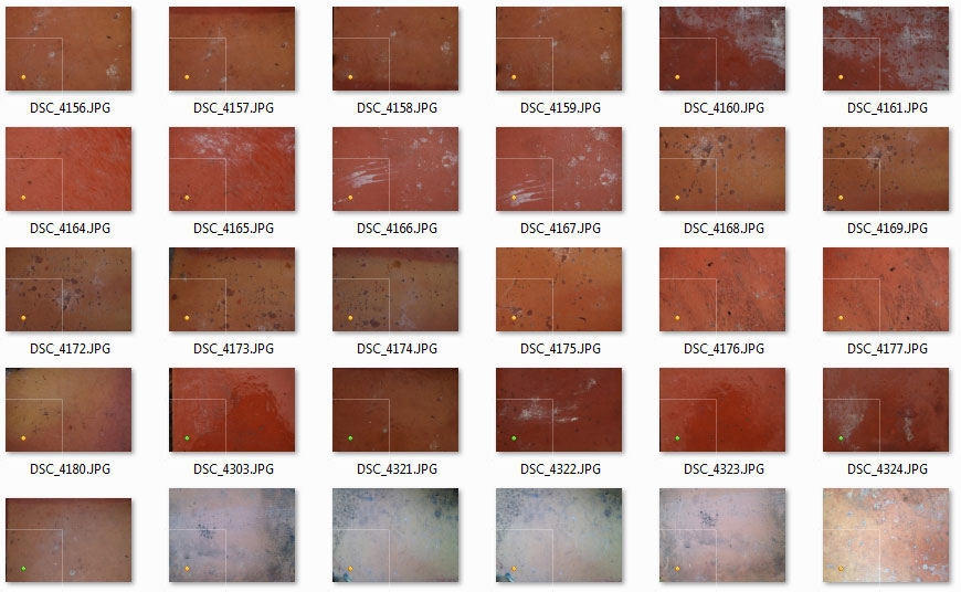 Thumbnails of some of the other shots of the old tiles waiting for my attention. Because there will be many, many more brushes to come, using this set.