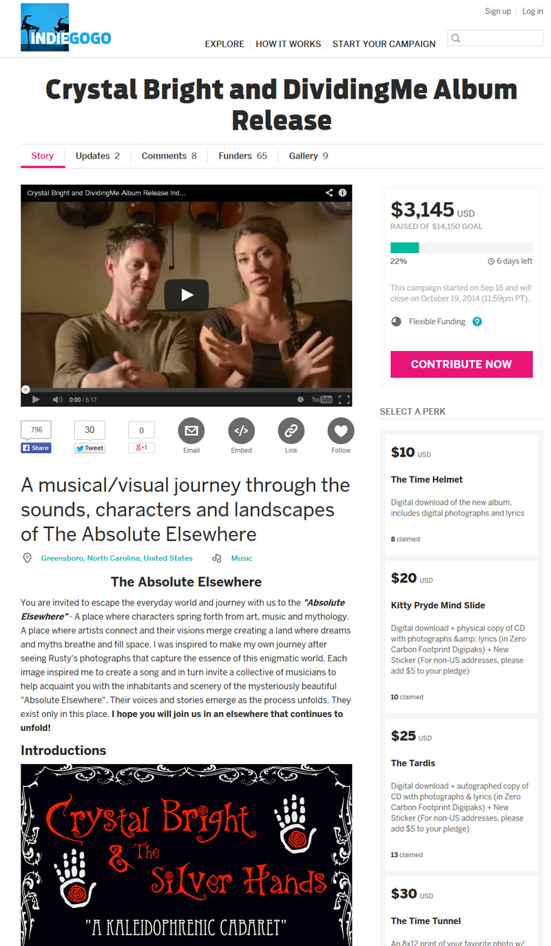 Click to visit the Indiegogo campaign page for Crystal Bright and DividingMe CD Release page