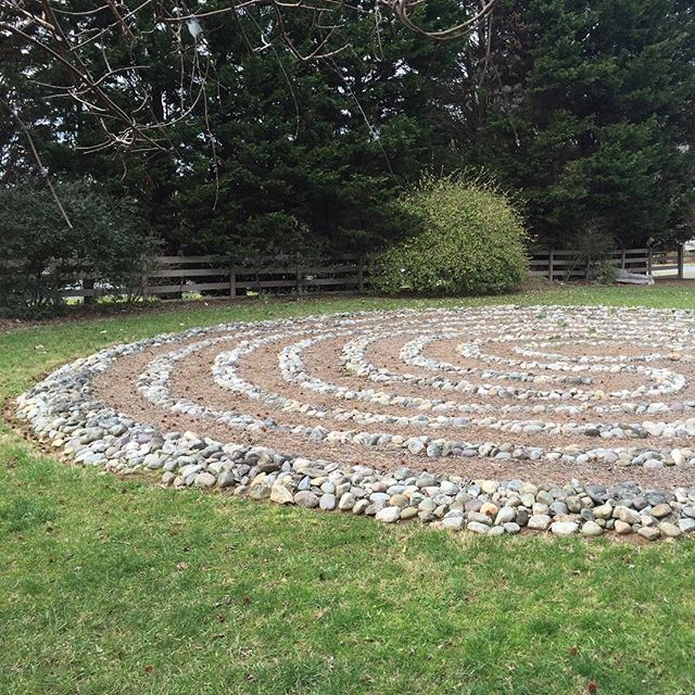 The labyrinth I did not (really) walk on Friday is also the first one I've ever actually seen in person. How strange but also wonderful. Because now I know. #labyrinth #firsts #friends #healingground