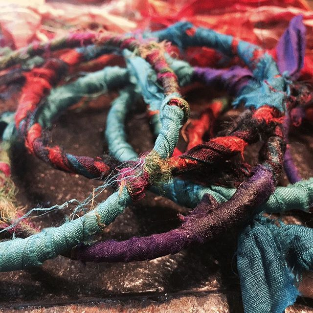 "Last summer I had this great idea to make myself some bangle bracelets wrapped in sari silk ribbons. Only I had so much fun I wanted them to be ""perfect"" and couldn't decide how I wanted to finish them. So I never did. Now I'm making jewelry again and have developed all these new ideas and skills. Time to finish some bangles, no? Hopefully more to report here soon! #jewelrydesign #banglebracelets #colorful #accessories #thingswedoforfun #procrastination"