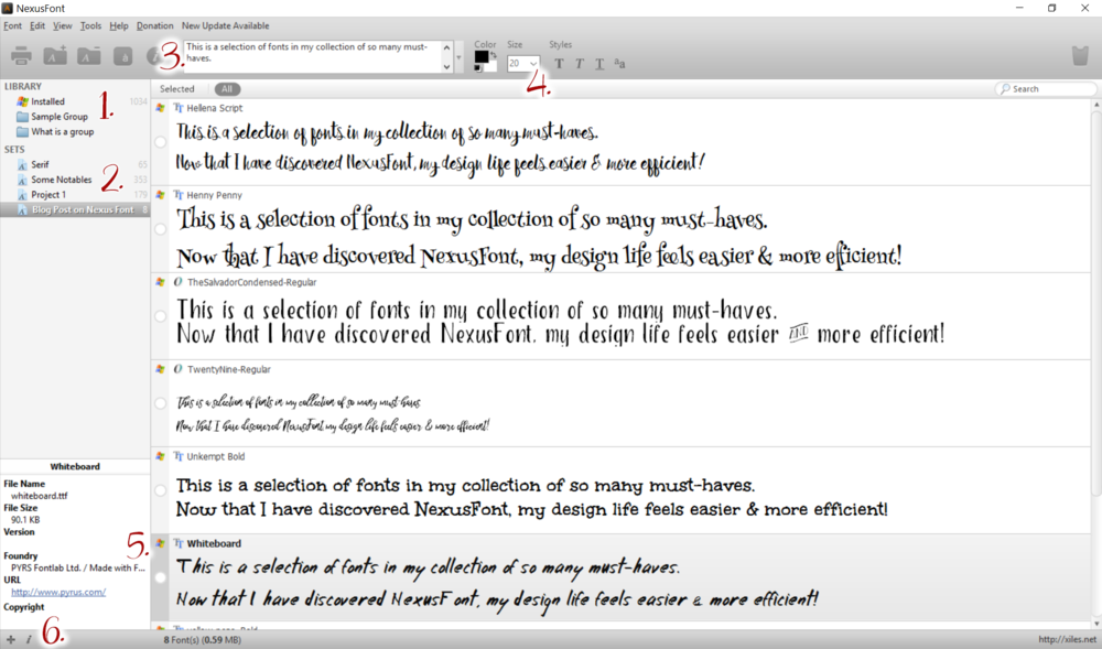 Screenshot of NexusFont in action with numbers near key sections I've included in my blog. Click to enlarge.