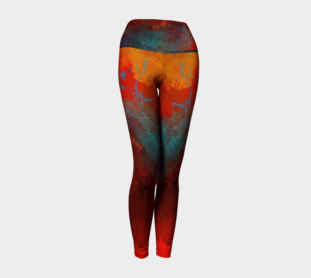 "Yoga Leggings with ""Poet's Fancy"" Art Design"