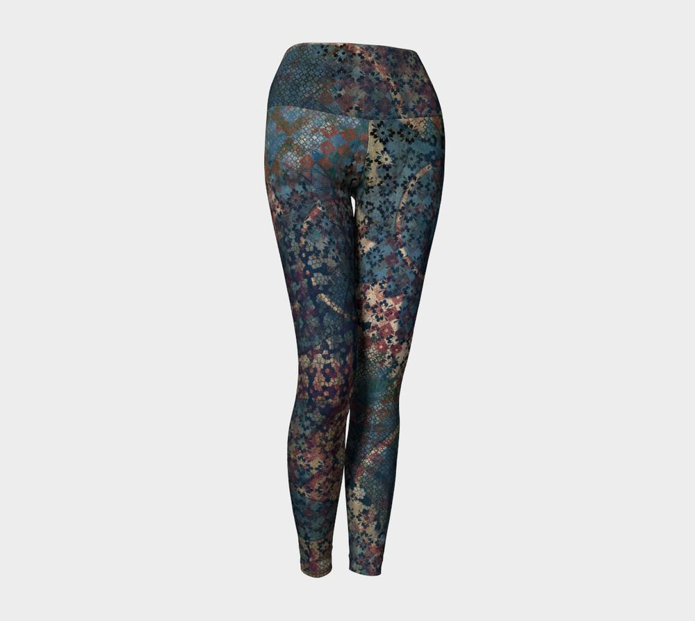 "Yoga leggings designed featuring ""Delivery to Another World"" digital artwork."