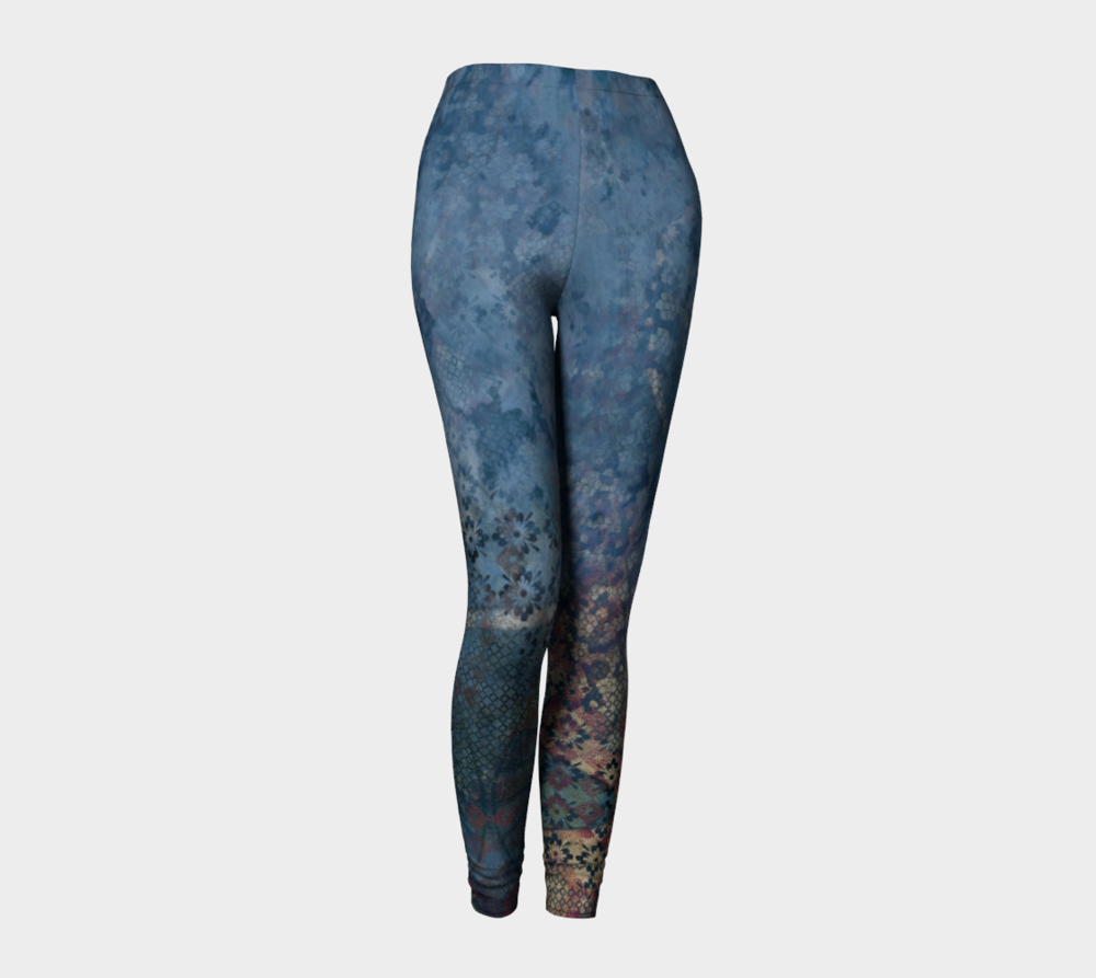 "Standard leggings designed featuring ""Delivery to Another World"" digital artwork."
