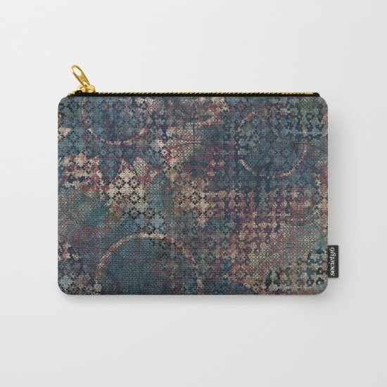 Carry-all zipper pouch printed with this blue, red, black, grungy abstract artwork - Society6