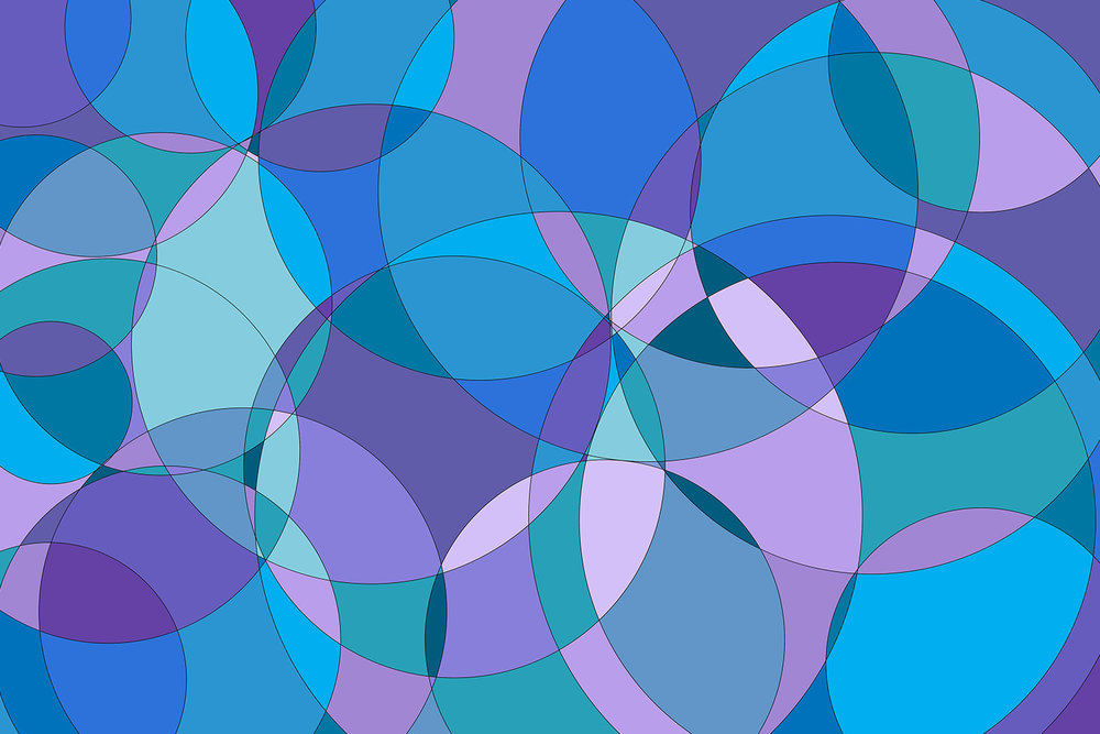 Purple, blue, lavender, aqua, teal, turquoise, green interconnected circles in an abstract art design printed on leggings, skirts, dresses, robes, kimono wrap, silk scarves, pencil case zipper pouch. Unique, fun, bold design.