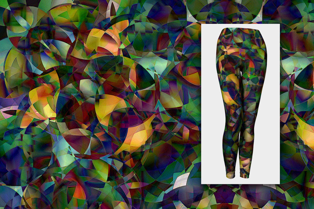 """Light & Magic"" yellow green purple abstract art designer leggings"