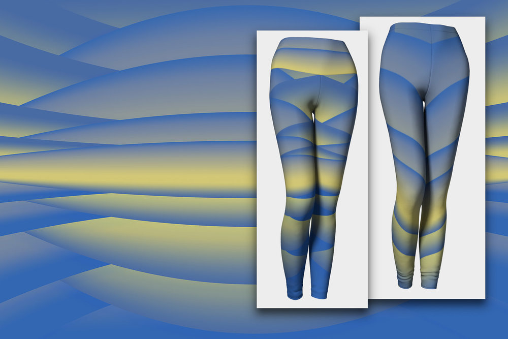 Morning Run by the Lake: Blue and Yellow Designer Leggings