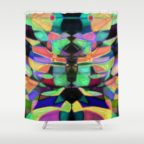 Shower curtain with bold, colorful abstract art.
