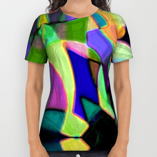 All over print shirts featuring abstract art by Melody Watson