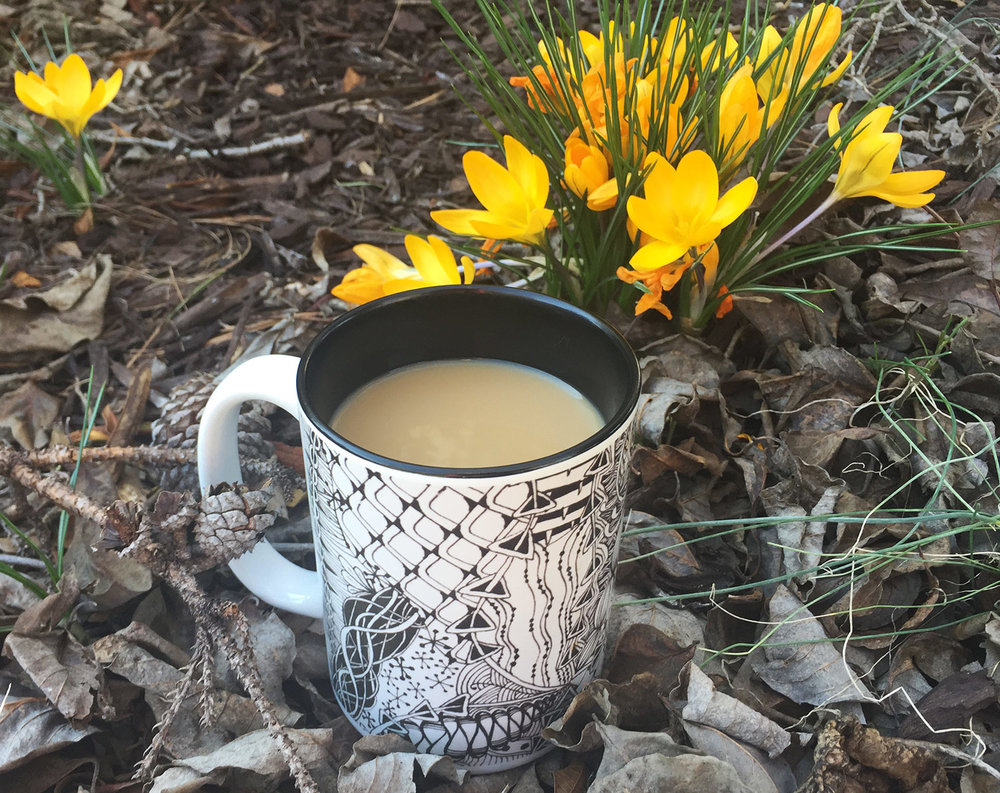 Click the photo to see my pretty yellow crocuses and my pretty Zentangle-inspired-art mug printed with my own doodle art, too, if you like!