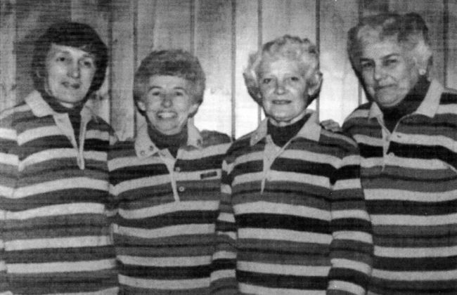 Shirley Pilson, from right, Mary Bagnall, Doris Cowan and Pat Jones of the Chatham Granite Club won the 1982 Ontario Curling Association senior women's championship.