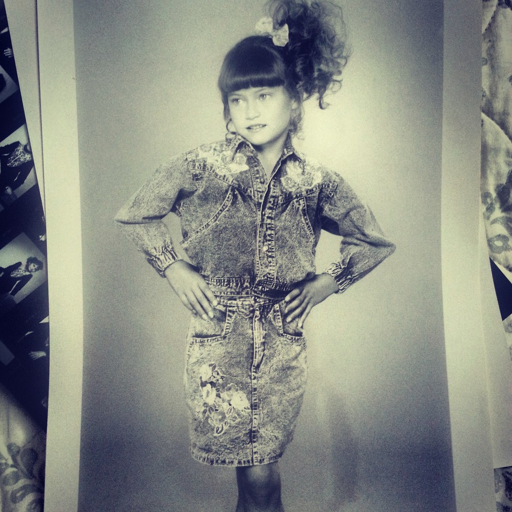 Michelle in applique denim ensemble. 1990.