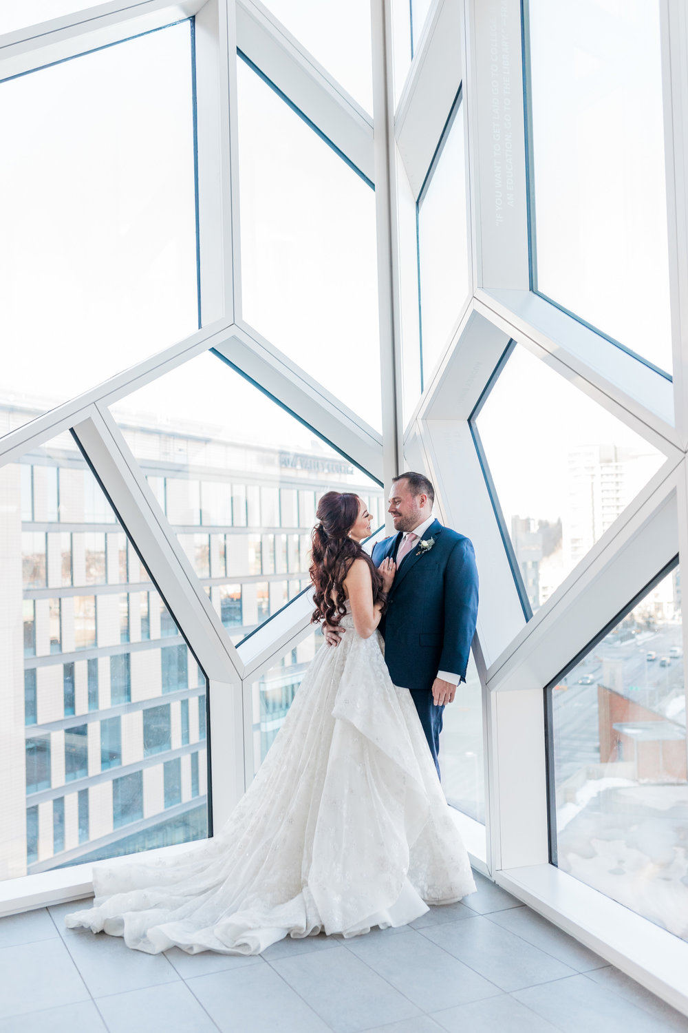 Wedding couple at the new Central Library in downtown Calgary