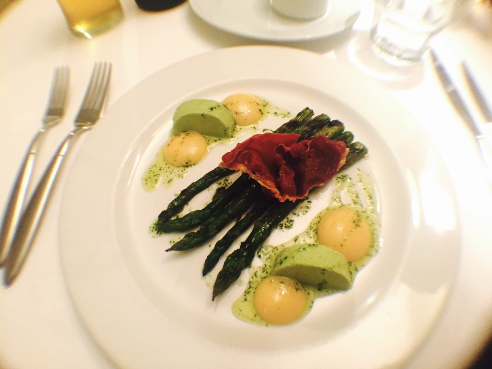 English asparagus, pea panna cotta, crispy parma ham and egg yoke puree