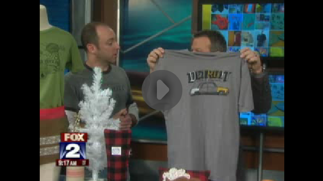 My Fox detroit anchor, Jason Carr, buys a shirt on air during our DUCF appearance