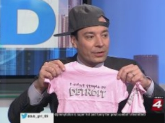 Jimmy Fallon visits Detroit, sits down with the hosts of Live from the D for a chat about The Tonight Show and receives a special gift from Karen Drew.  >>> Click picture to see segment with Jimmy <<<