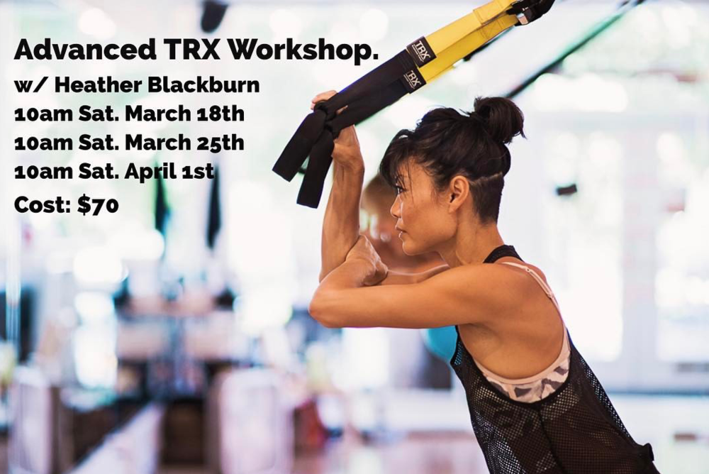 Designed to introduce you to new movements that you won't see in regular classes, exercises that will challenge the strongest among you and take your TRX practice to the next level! If you are up for the challenge join us as we progress and get stronger each week. Sneakers and water needed. Class will be Saturdays at 10am for 4 weeks. March 18, 25, April 1 and April 8. *No injuries please, must have instructor approval to attend and previous TRX experience.