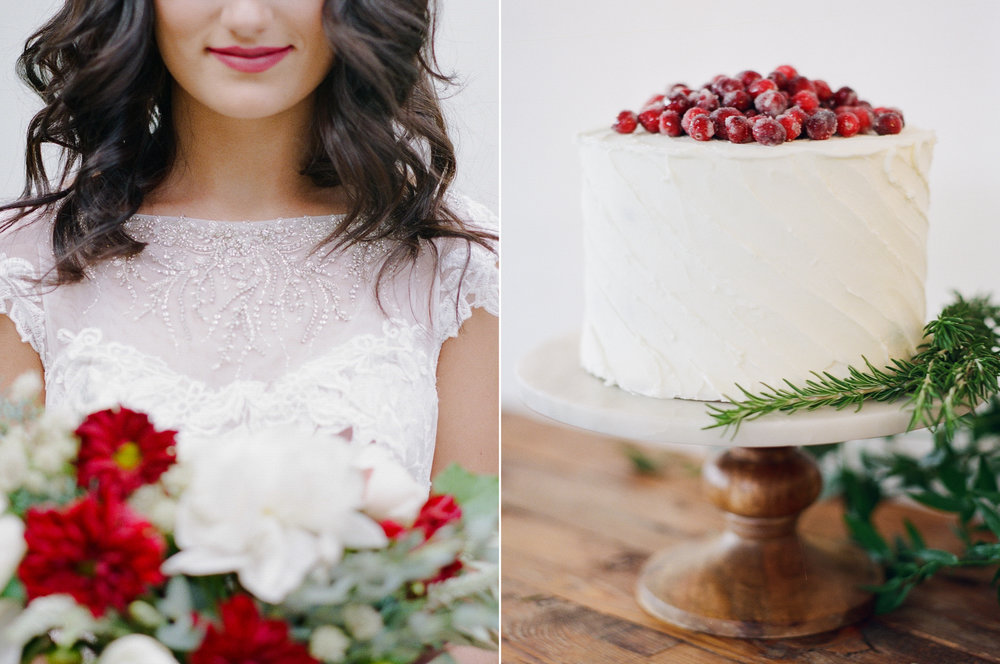Berry Red Lipstick and Flowers, Wedding Cake with Sugared Cranberries