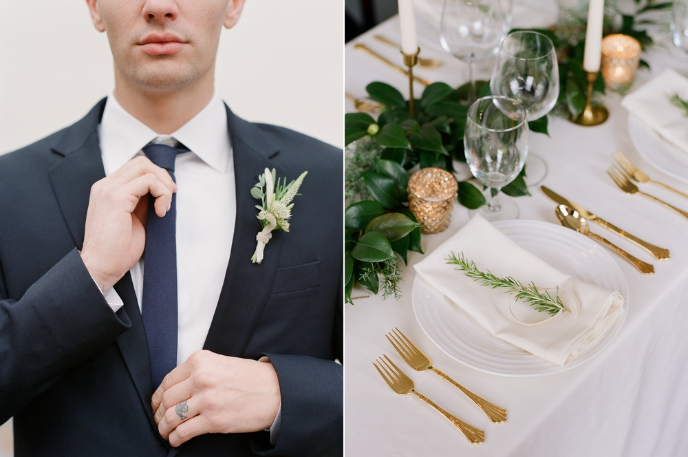 Modern Groom Wedding Attire and Festive Table Setting with Gold Flatware