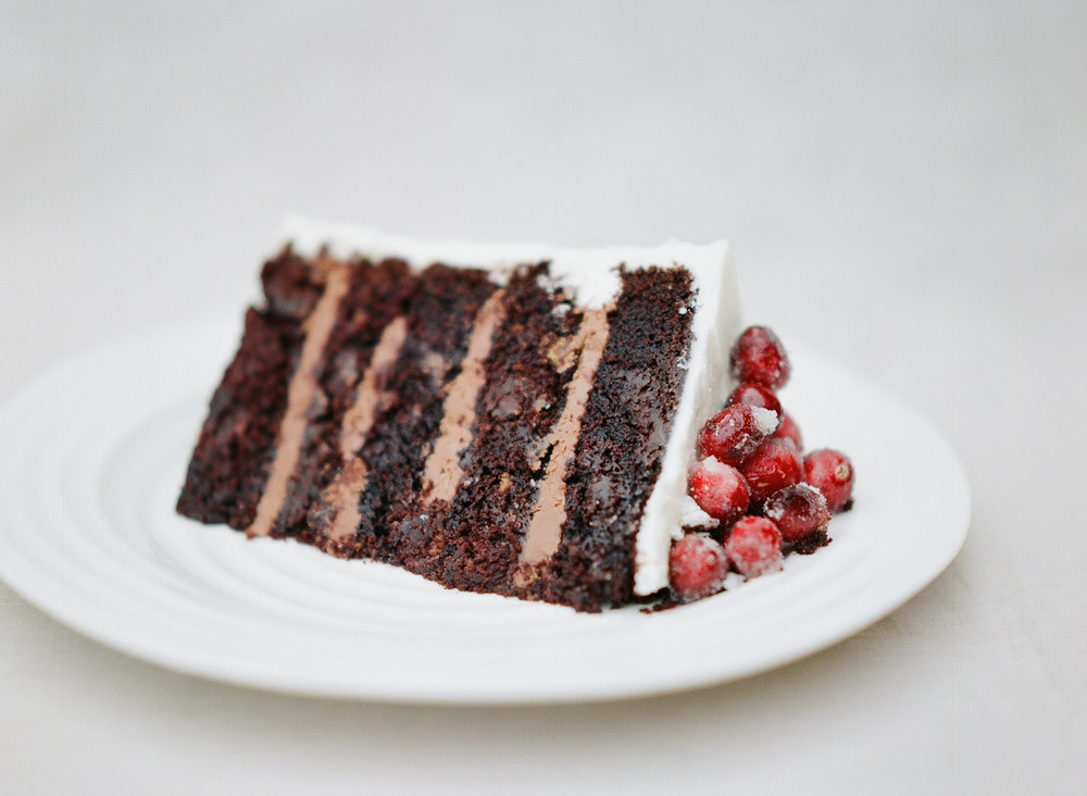 Chocolate Cake with Buttercream Icing and Sugar Cranberries