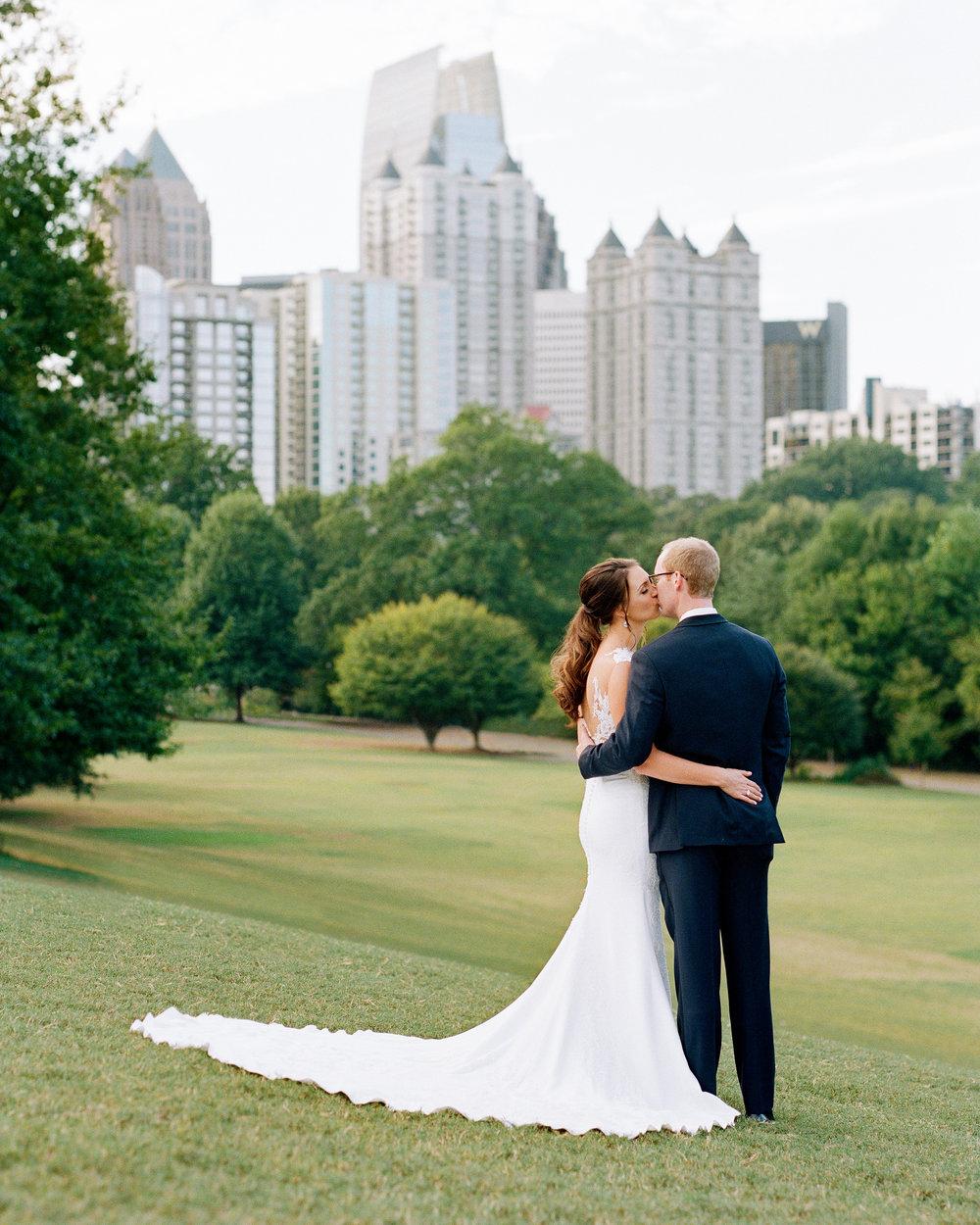 Bride and Groom in Piedmont Park Atlanta on Wedding Day
