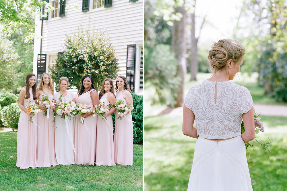 Bride in Bo & Luca two piece gown with bridesmaids.jpg