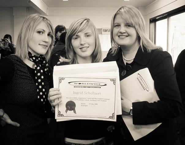 Presenting graduation certificates, Auckland