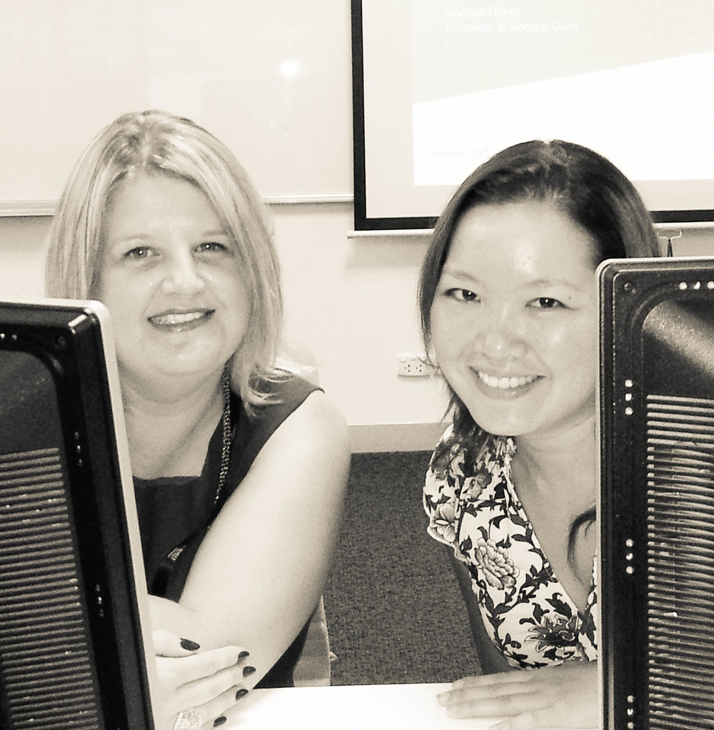 With Andrea Flores (right) at our 'Using Google Apps to Foster Collaboration' workshop, 2013.