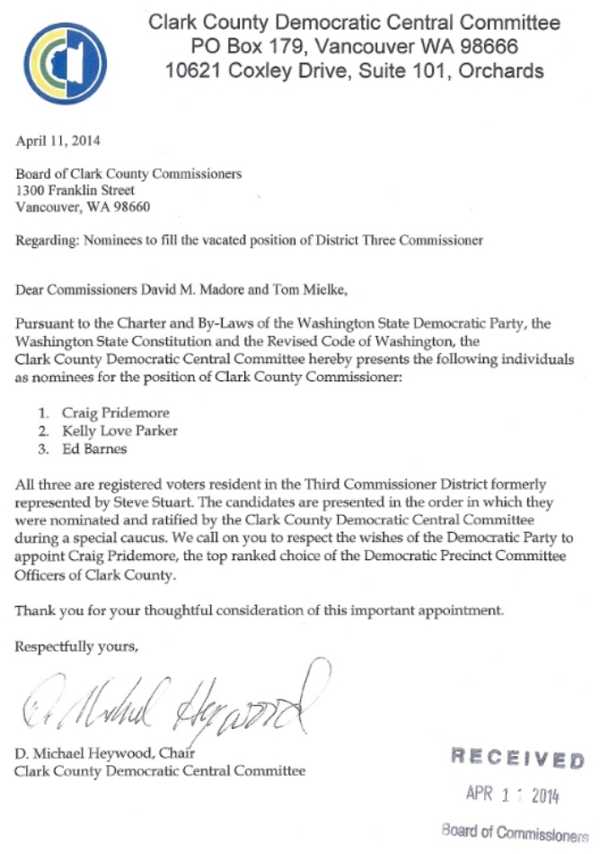 CLARK COUNTY DEMOCRATS OFFICIAL REQUEST TO REPLACE STEVE STUART WITH CRAIG PRIDEMORE