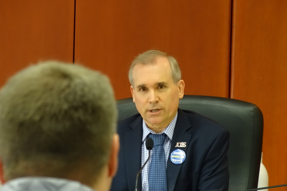 Clark County Councilor David Madore takes a beating during public comment from pro-union constituents.