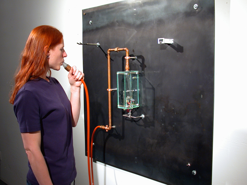 "Breath Counter Metal, glass, rubber 36"" x 36"" x 9"""