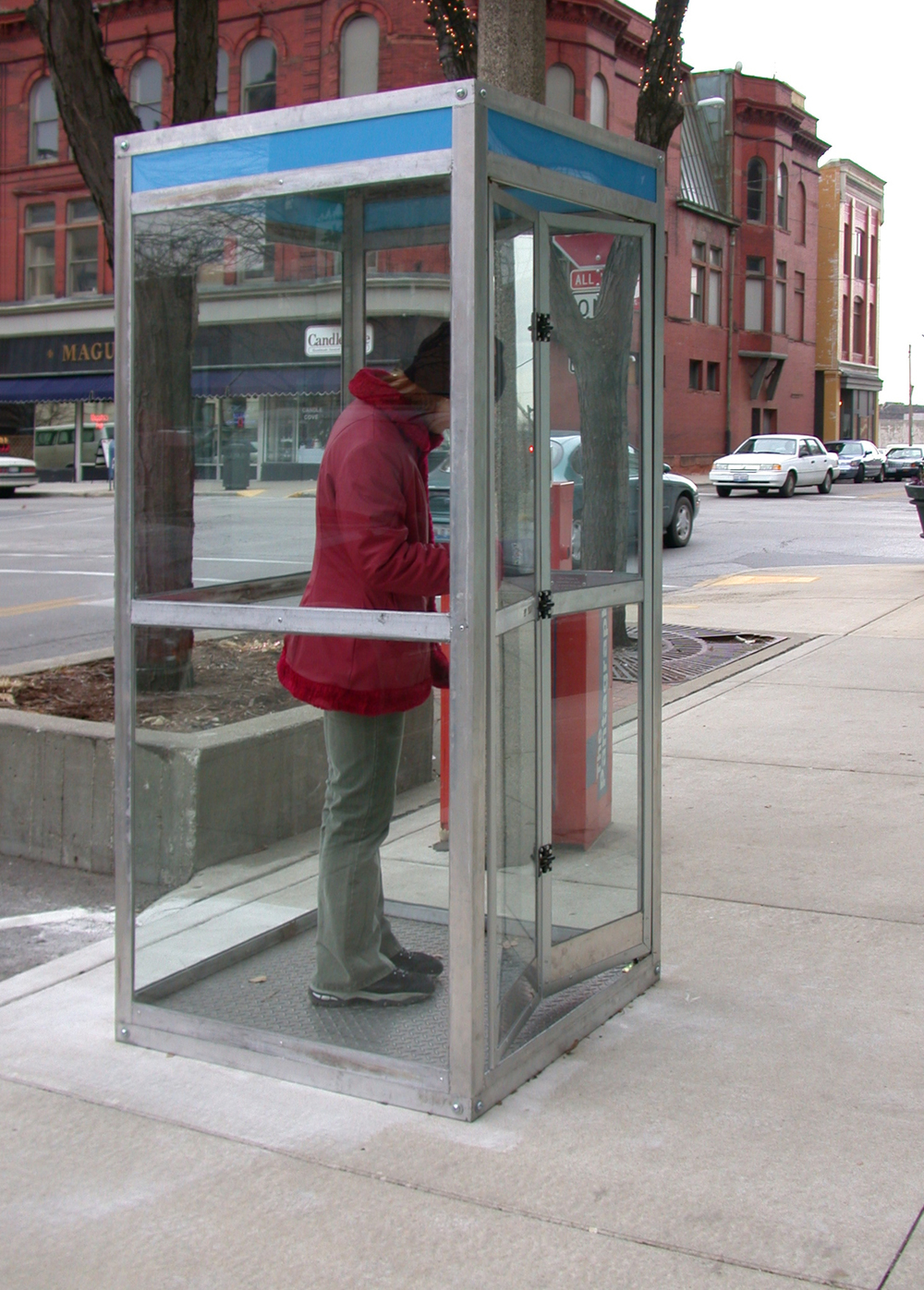 "Booth Metal, glass, plexi 37"" x 37"" x 84"""