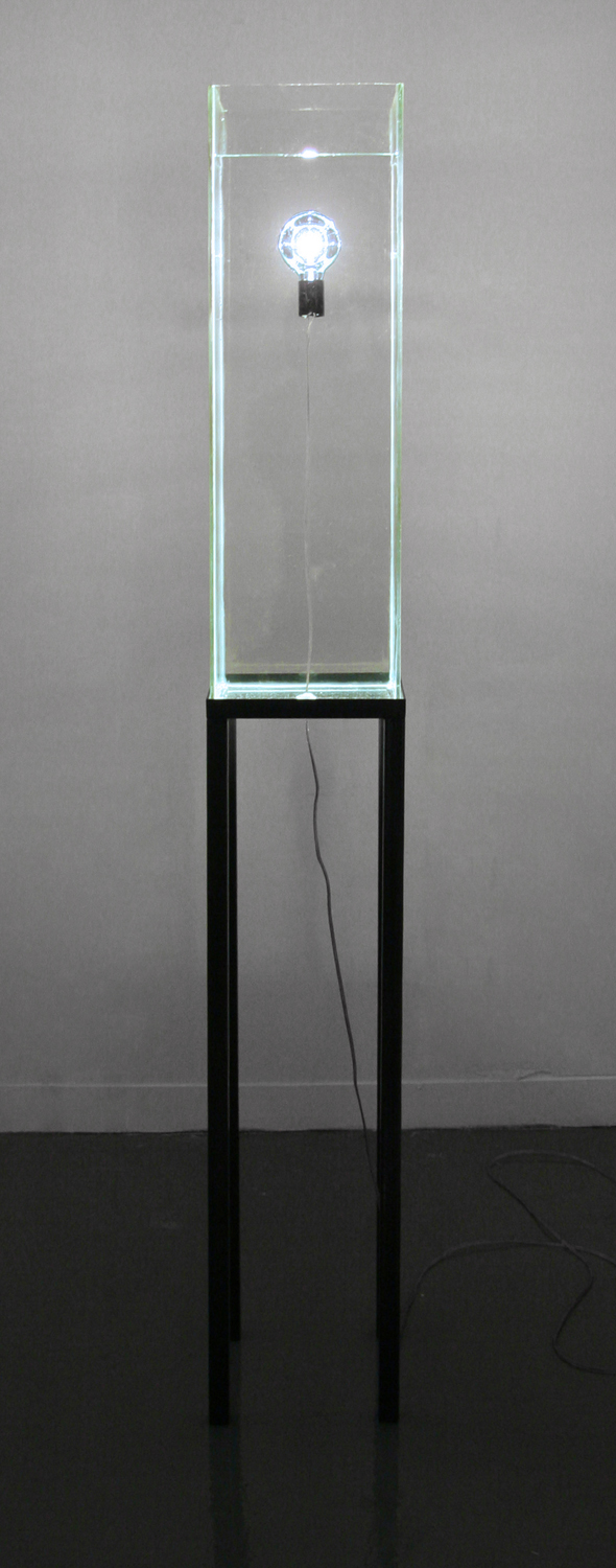 "Drowning light Glass, metal, light 9"" x 9"" x 77"""