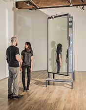 "Chamber Glass, mirror film, metal 36"" x 36"" x 96"""