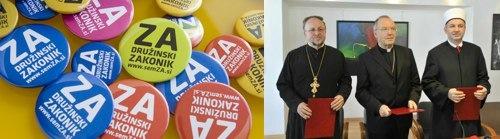 Značke ZA in katoliško-pravoslavno-muslimanska trojica PROTI
