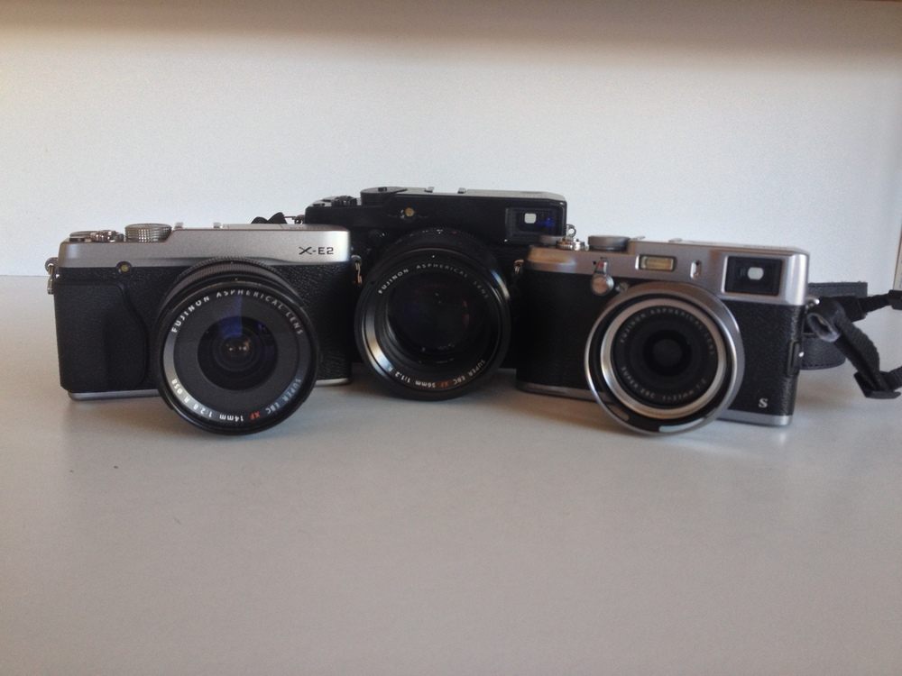 Pretty close in size to the X100S, although sticking the XF14 on it definitely added some meat!