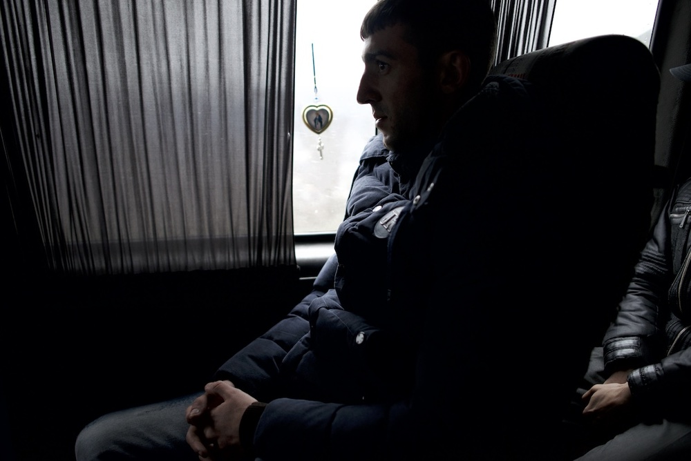 Vladimir Avetisyan, 23, travels from Gyumri to his military post in Aghdam, at the frontline between Nagorno Karabakh and Azerbaijan. He was urgently called back from holidays in his hometown, as clashes between Karabakh and Azerbaijan escalated on the night of April 1-2, 2016.